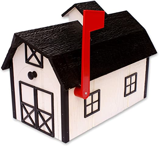 Mailbox Wooden Dutch Barn Style Dark Gray with White Trim Amish Made in USA