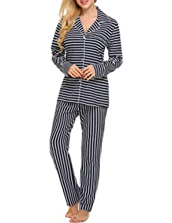 c7ee7743a Ekouaer Pajamas Set Long Sleeve Sleepwear Womens Button Down Nightwear Soft  Pj Lounge Sets XS-