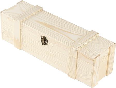 Caja de madera para vino – 1 botella de vino, caja de regalo de madera, con bisagras