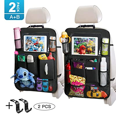 Backseat Car Organizer with Touch Screen Tablet Holder Tissue Box 2 Pack Tocode, Car Seat Protector Kick Mats Multi Storage Pockets for Kids Toy Book Bottle Baby Travel Accessories with Headrest Hook: Automotive