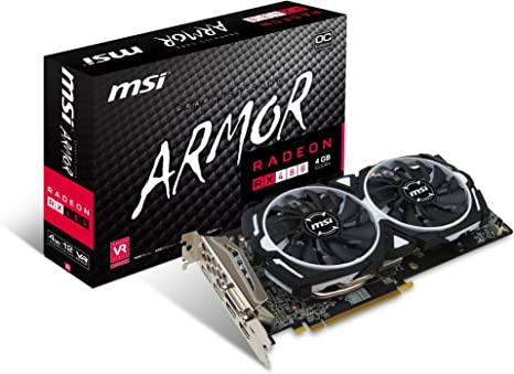 MSI GAMING Radeon RX 480 GDDR5 4GB CrossFire VR Ready FinFET DirectX 12 Graphics Card (RX 480 ARMOR 4G OC)