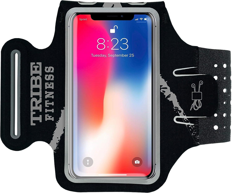 Tribe Premium Brassard et Support pour téléphone Portable iPhone X, XS, 8, 7, 6, 6S Samsung Galaxy S9, S8, S7, S6, A8 M: iPHONE X/XS Galaxy S9/S8/A8 Or Similar Noir/Gris