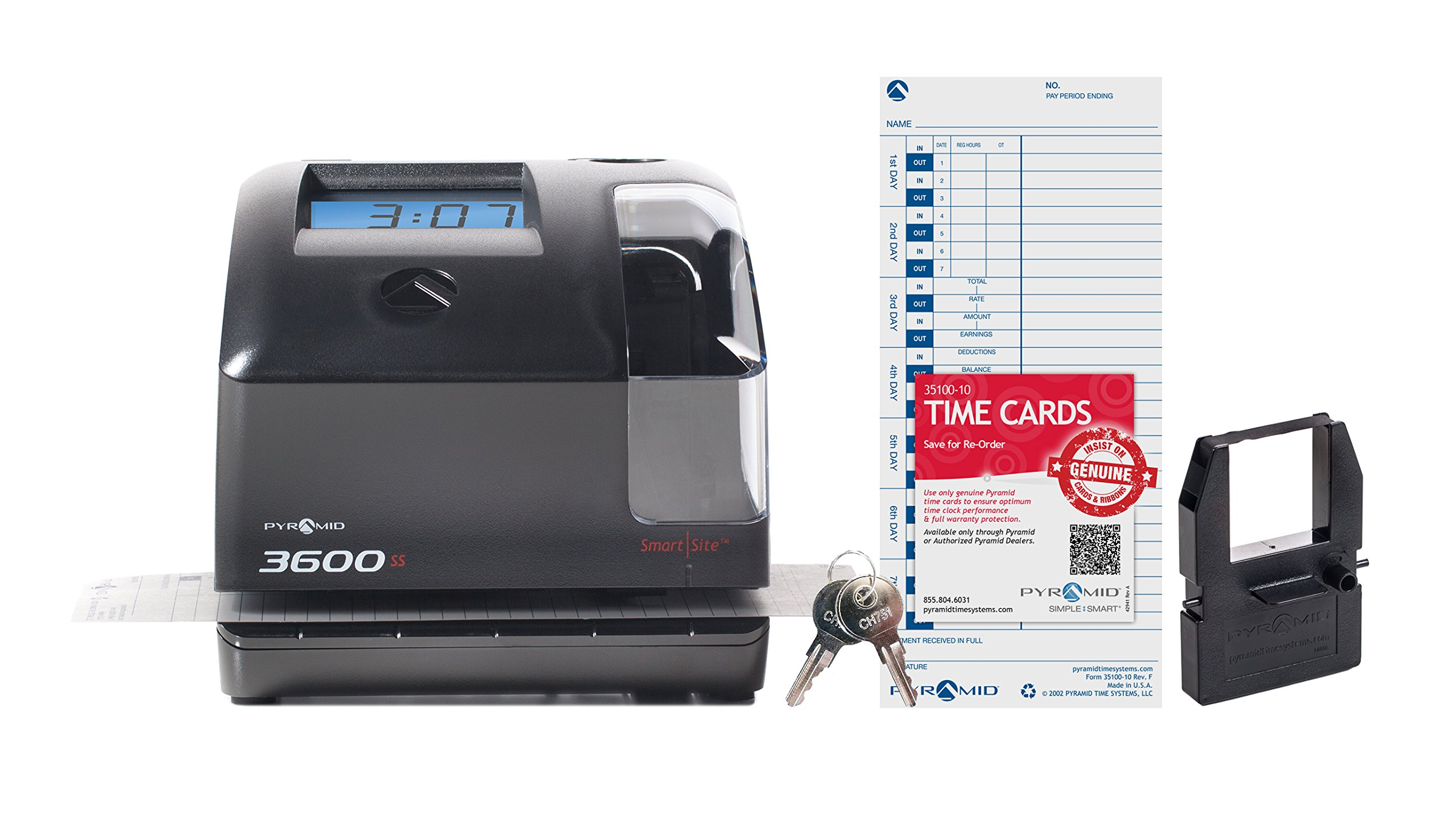Pyramid 3600SS SmartSite Time Clock and Document Stamp - Made in the USA