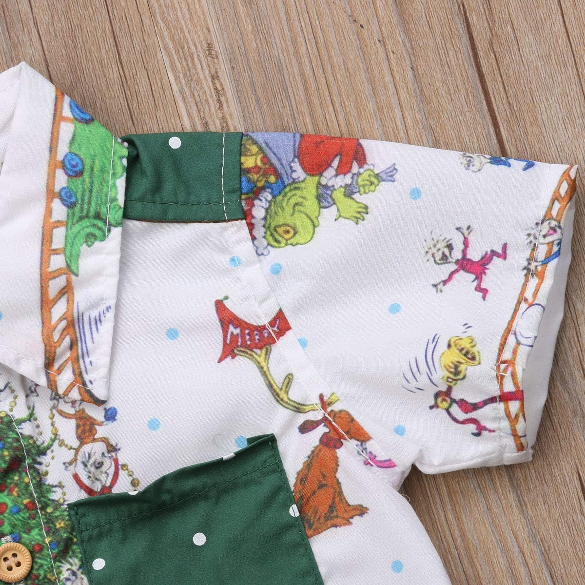 Short Pants Christmas Outfit Costumes Toddler Baby Kid Boy Christmas Tree T-Shirt Short Sleeve Top
