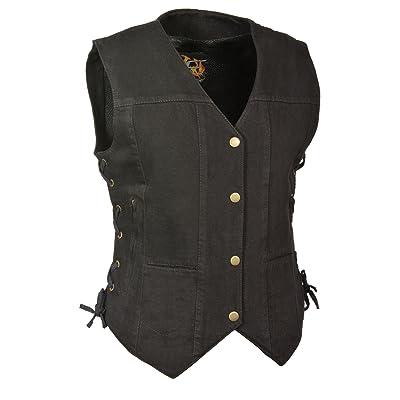 Milwaukee Leather Women's Denim 6 Pocket Vest with Side Lace (Black, X-Large): Automotive