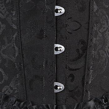 Details about  /Womens Floral Lace Trim Corset Overbust Waist Cincher Bustier Plus Size