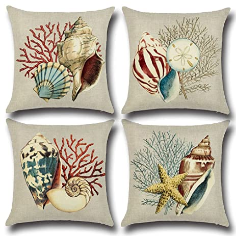 Baroncover 4 Pack Mediterranean Style Conch Pattern Sofa Pillow Covers  Cushion Covers 18x18