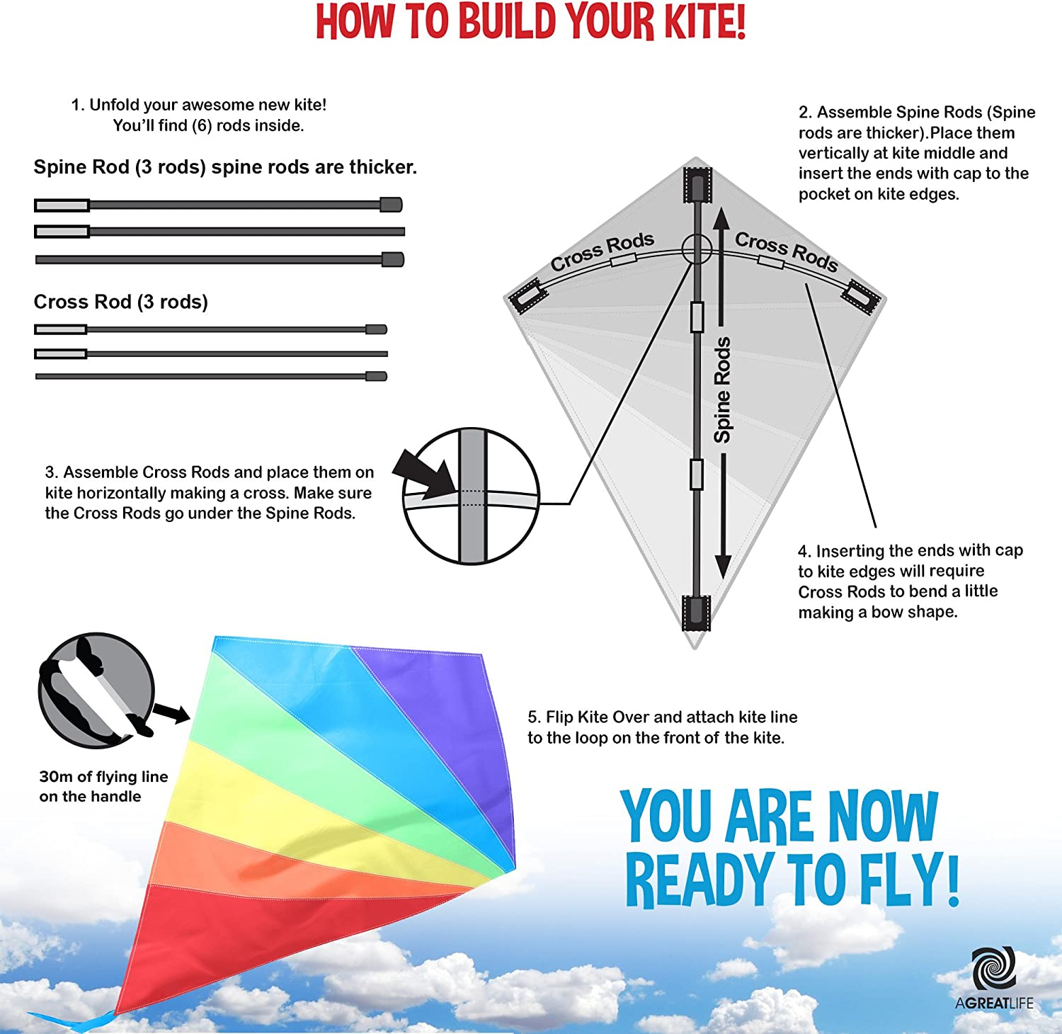 Easy to Fly and Soars Hig AGREATLIFE Diamond Kite Easy Flyer for Boy and Girls