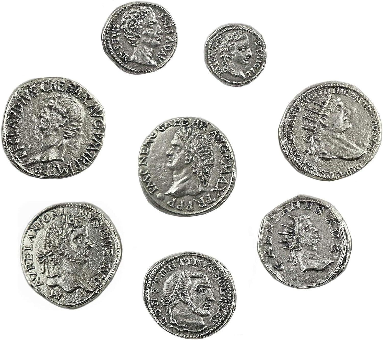 Monnaies imp/ériales Romaines plaqu/é Argent Set 8 Empereurs Rome Antique
