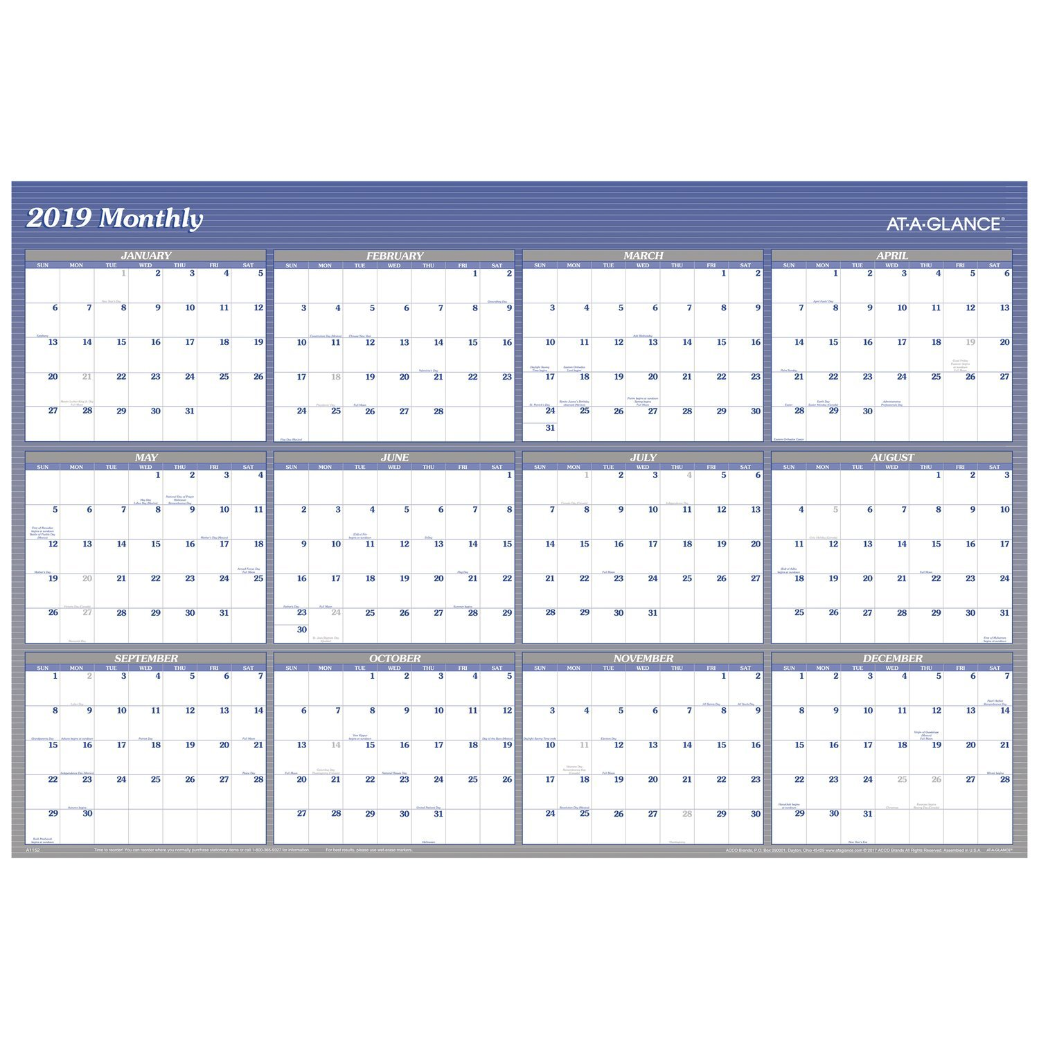 at-A-Glance A1152-18 Yearly Wall Planner, January 2019 - December 2019, 48'' x 32'', Vertical, Horizontal, Erasable, Reversible, Blue (A1152)