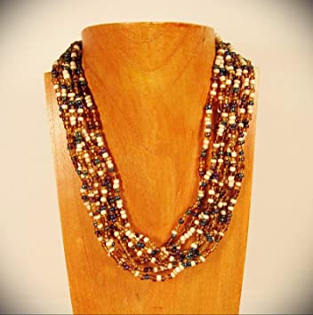 Necklace Three Strand Amber and Gold Seed Bead Handmade