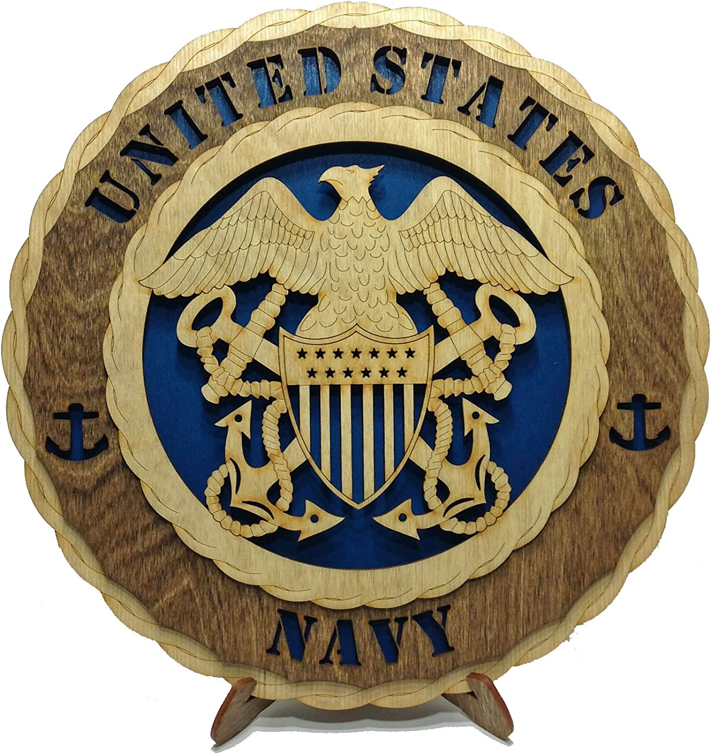 Navy Decorative Custom Laser Three Dimensional Wooden Wall Plaque - Armed Forces