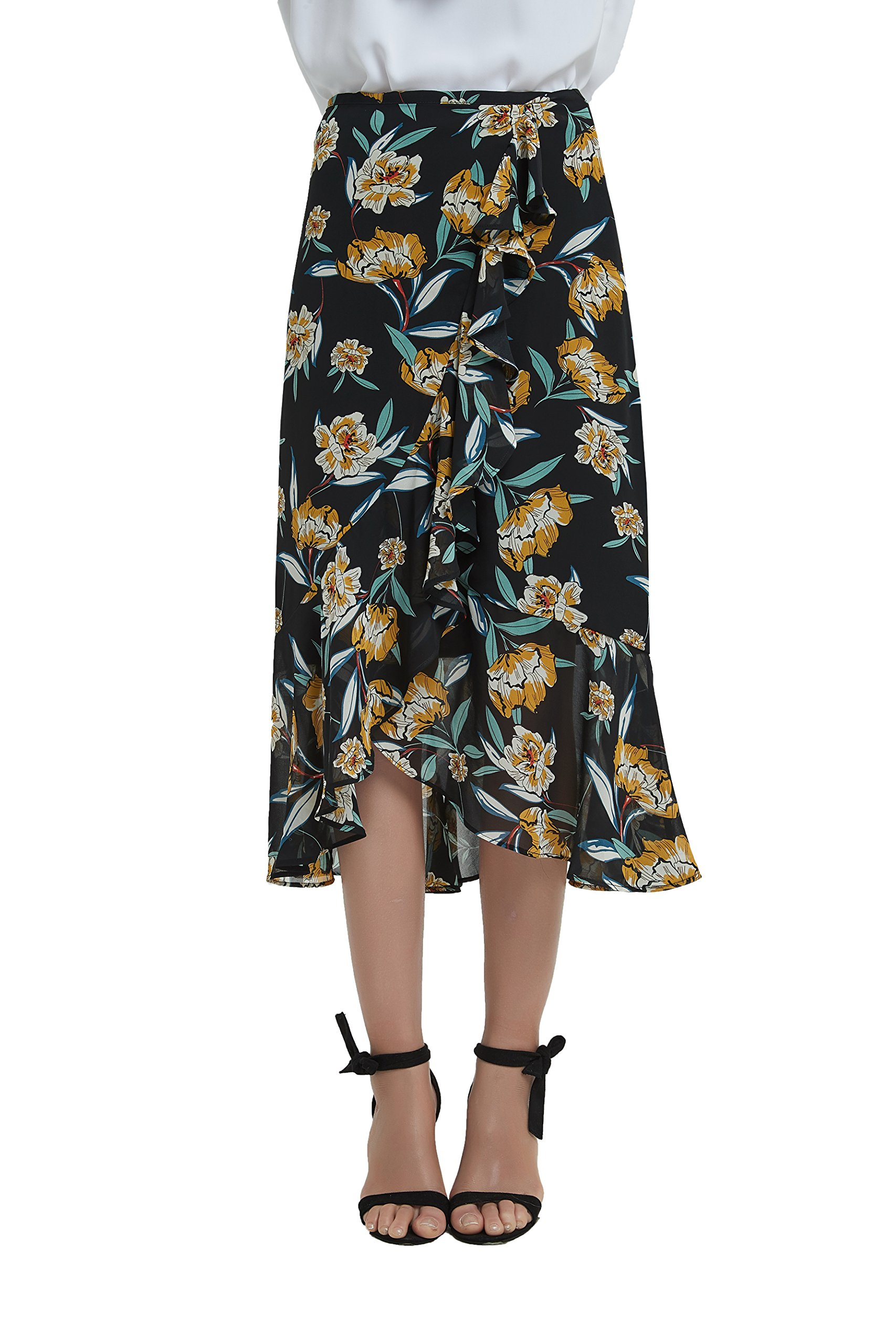 Tronjori Womens A Line Floral Print Midi Skirt with Ruffle on The Front
