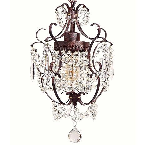timeless design 2de98 c3554 Starthi Bronze Mini Crystal Chandelier, Wrought Iron Ceiling Pendant  Chandelier Light, 1-Lighting
