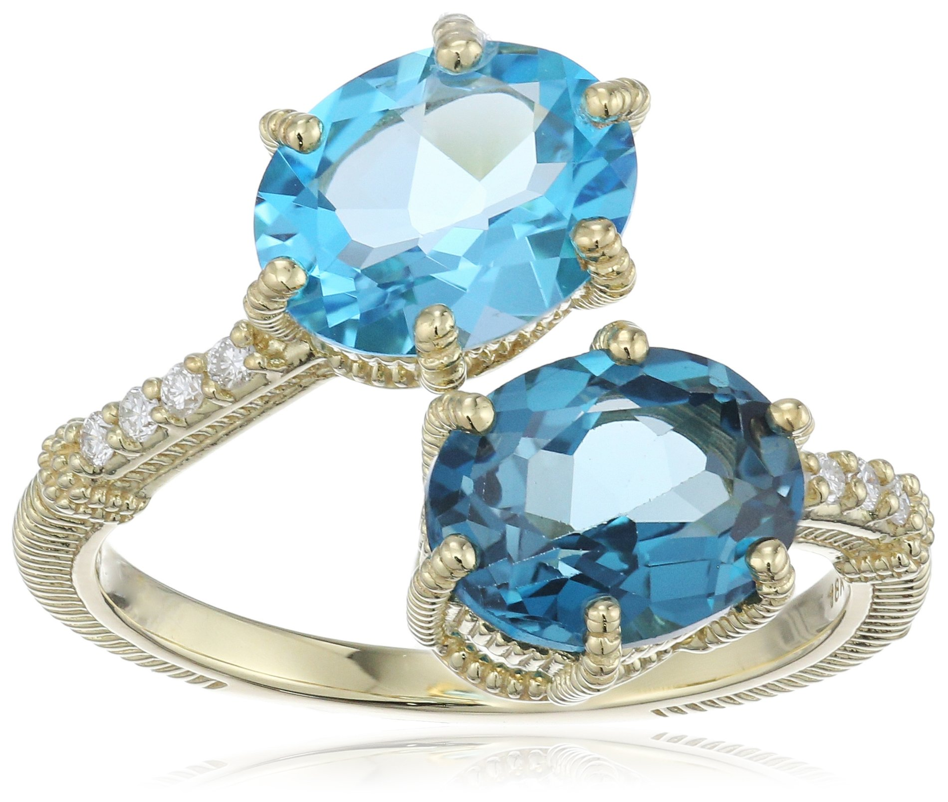 Judith Ripka ''Flora'' Matching Oval Bypass Ring with Pave Band Diamond On Band and Oval Swiss Blue Topaz and London Blue Topaz Ring, Size 7