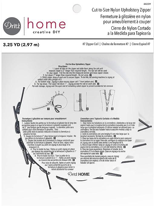 Dritz 44238  Cut-To-Size Nylon Zipper 3-1//4yd-Cream