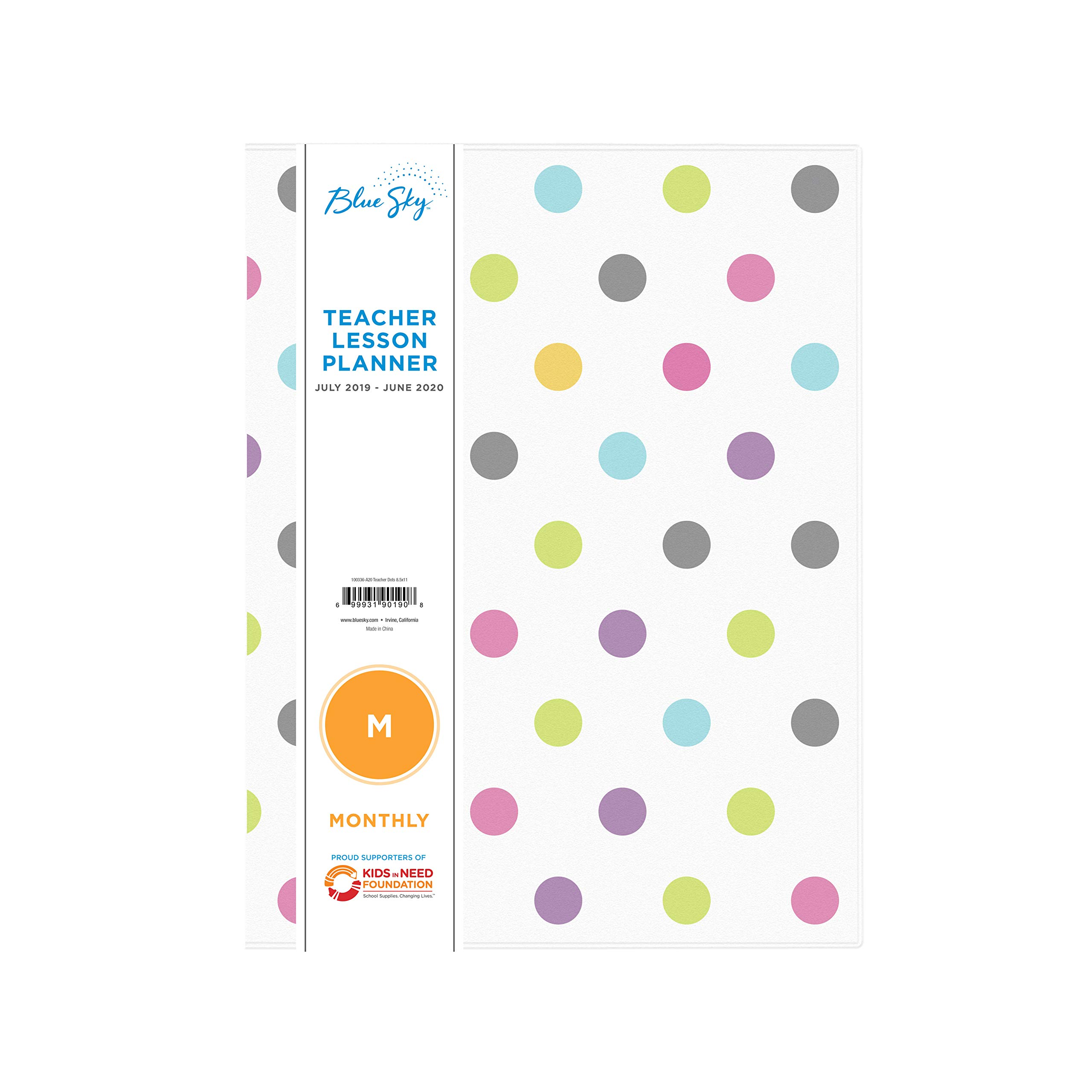 Blue Sky 2019-2020 Academic Year Teachers Monthly Lesson Planner, Stapled, Flexible Cover 8.5'' x 11'', Dots by Blue Sky