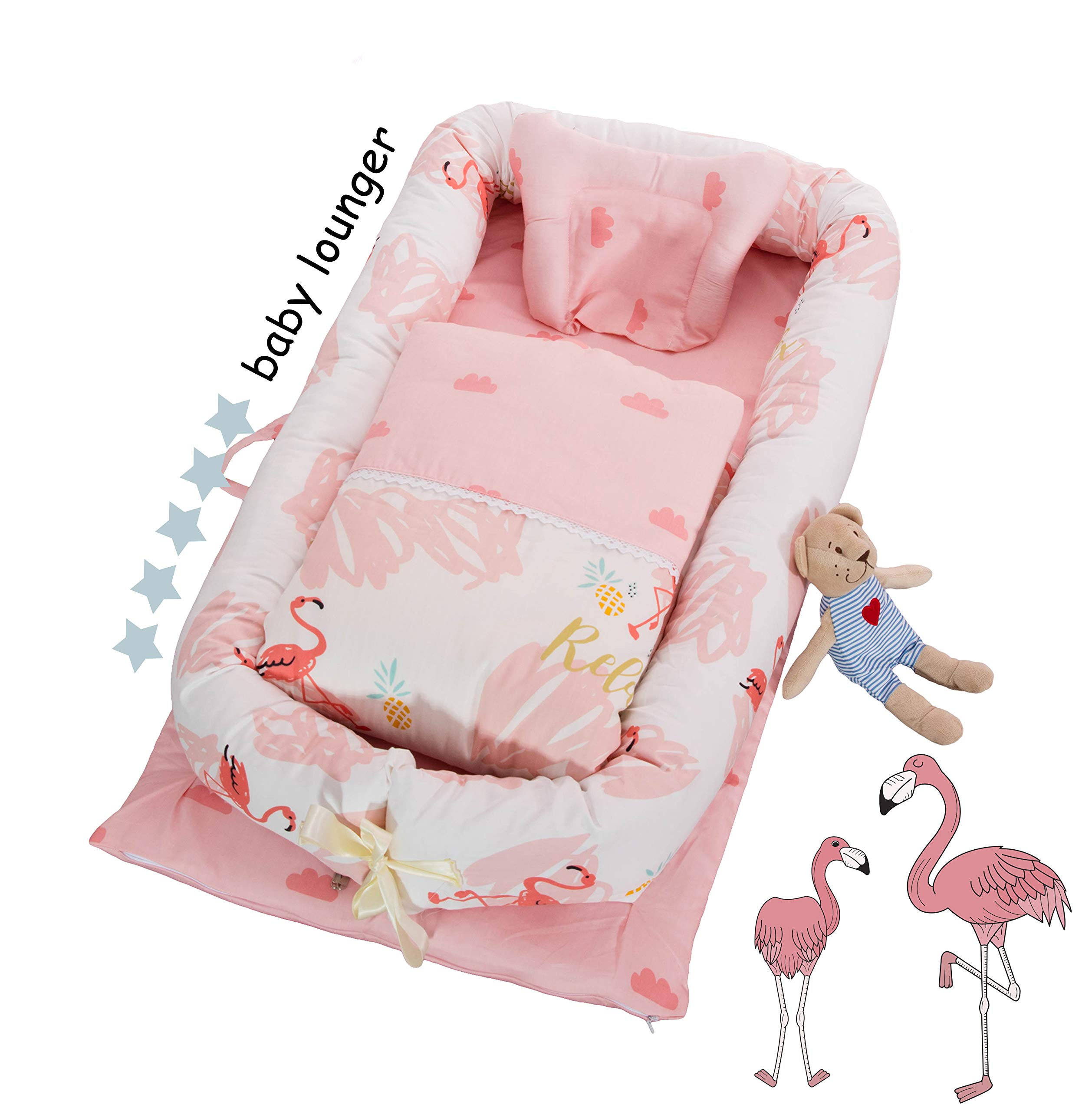 DOLDOA Baby Bassinet for Bed Portable Baby Lounger for Newborn,100% Cotton Newborn Portable Crib,Breathable and Hypoallergenic Sleep Nest Newborn Lounger Pillow for Bedroom/Travel (Flamingo) by DOLDOA