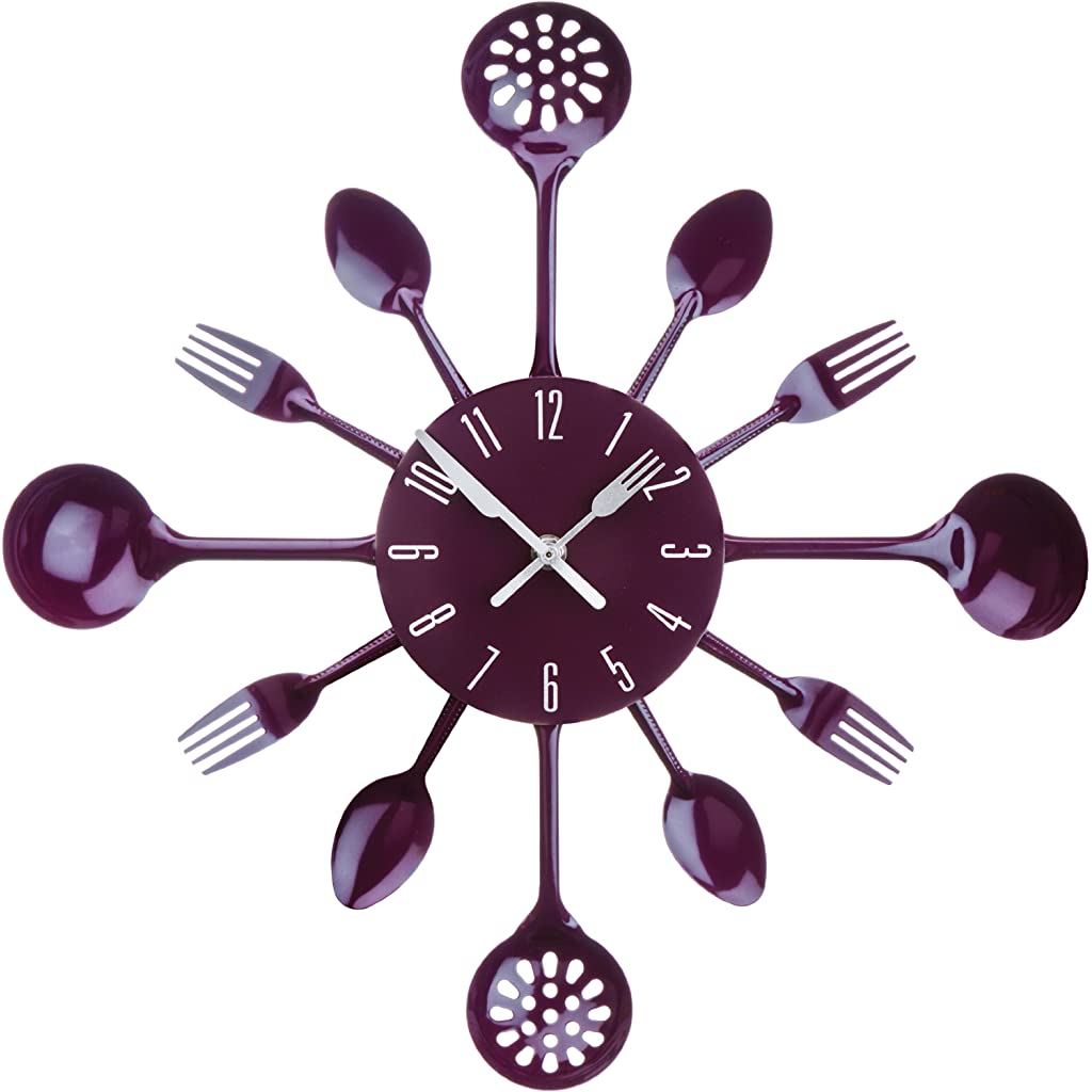 Premier Housewares Purple Cutlery Wall Clock