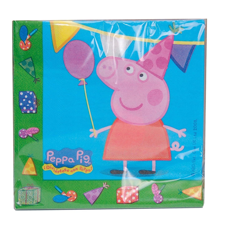 Peppa Pig 0762, Pack Fiesta y cumpleaños 1 piñata 1 banderin (3metros), 1 Mantel plástico 120x180 cm, 20 servilletas, 8 Platos 23 cm, 8 Vasos