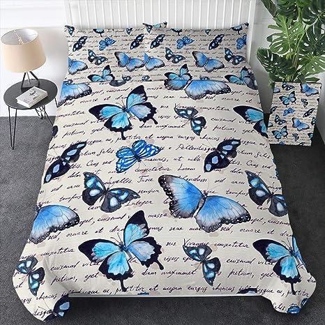 Butterfly Double King Bedding Duvet Set Kit Teal Blue Butterflies Soft Covers