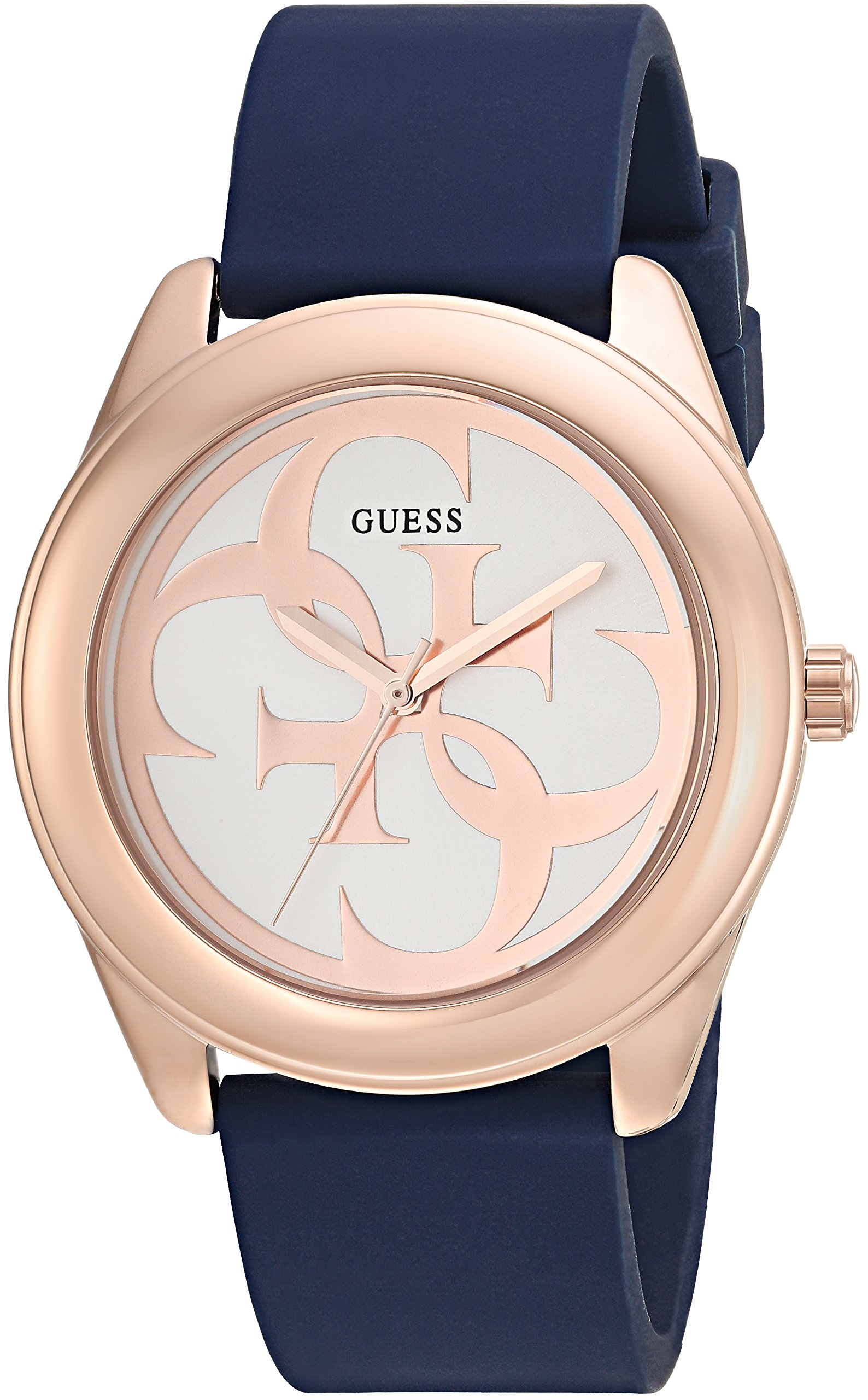 4a3ff3255 Galleon - GUESS Comfortable Rose Gold-Tone + Blue Stain Resistant Silicone  Logo Watch. Color: Blue (Model: U0911L6)