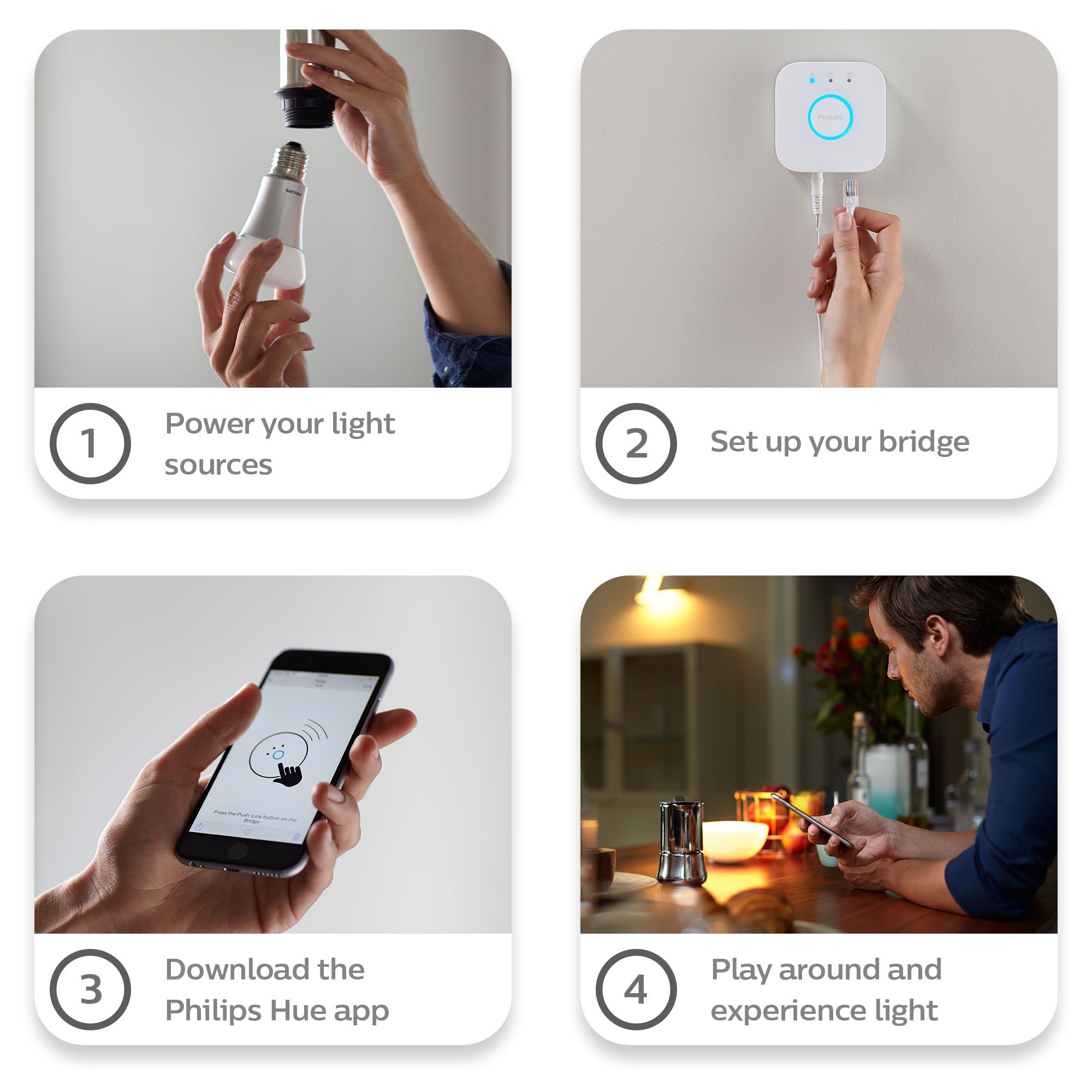 Philips Hue 464479 60W Equivalent White and Color Ambiance A19 Starter Kit, 3rd Generation, Works with Amazon Alexa by Philips (Image #9)
