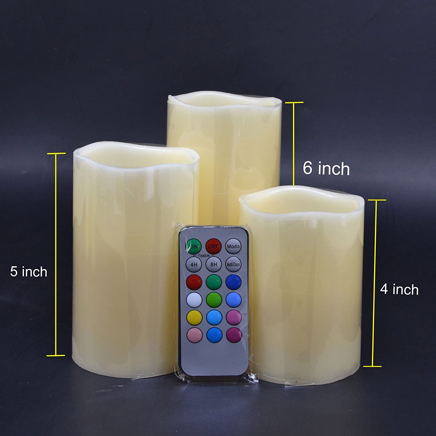Amazon Color Changing LED Candles Set of 3 with 18 Keys Remote