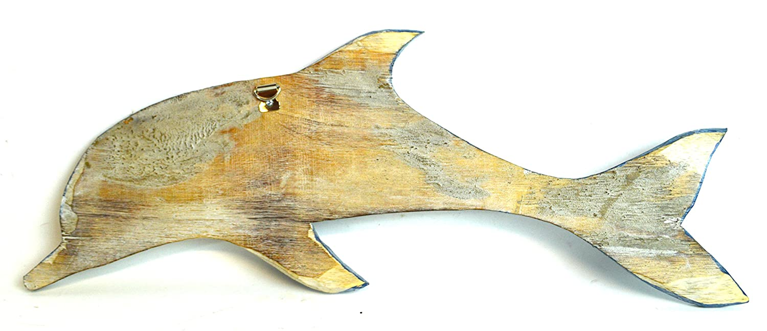 Amazon.com: HAND CARVED BLUE WHITE WASH WOOD DOLPHIN WALL ART ...