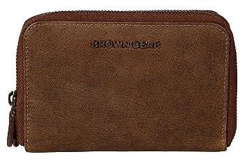 c82adde887c0a Brown Bear hochwertige Reißverschluss Geldbörse Damen Leder Braun Vintage  RFID Schutz