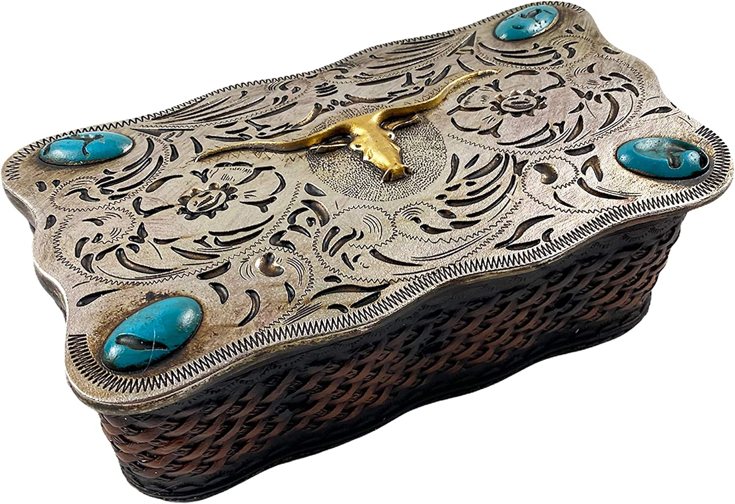 Urbalabs Silver and Teal With Longhorn Western Jewelry Box Change Dish Trinket Box Rustic Decor Jewelry Boxes Horseshoe House Warming Presents and Hunting Country Decor Storage Box (Silver Teal Longhorn)