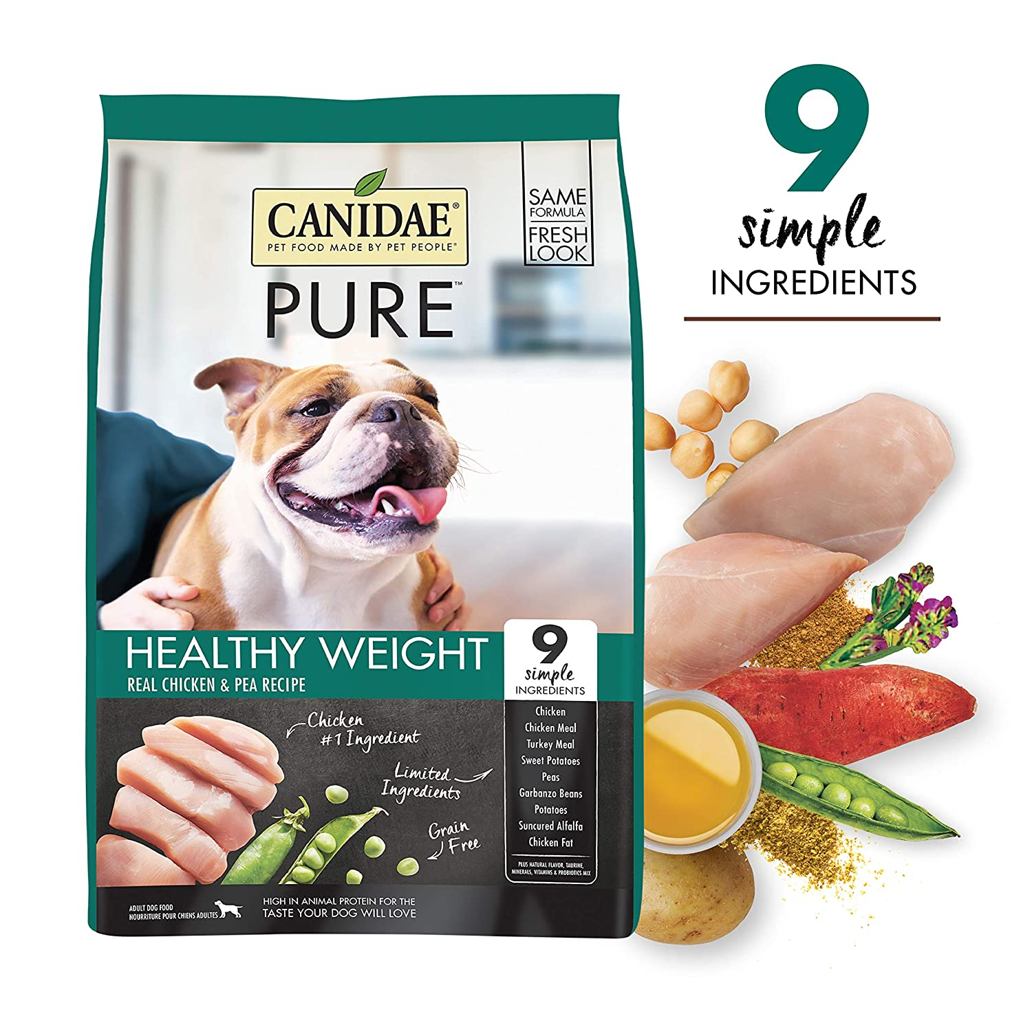 9. CANIDAE Grain-Free PURE Healthy Weight Real Chicken & Pea Recipe Dry Dog Food