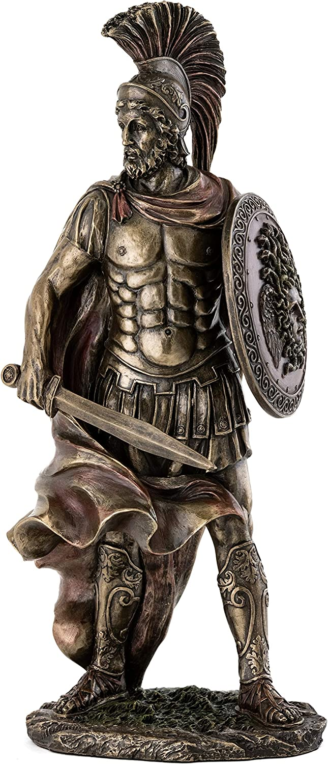 Top Collection Spartan Warrior Military Commander Statue - Decorative Middle Ages Sparta Sculpture in Premium Cold Cast Bronze - 13.5-Inch Collectible Ancient Greece Replica Figurine