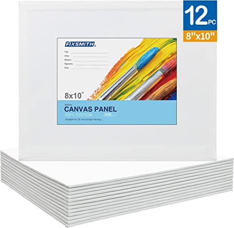 FIXSMITH-Painting-Canvas-Panels,8×10 Inch Canvas Board Super Value 12 Pack