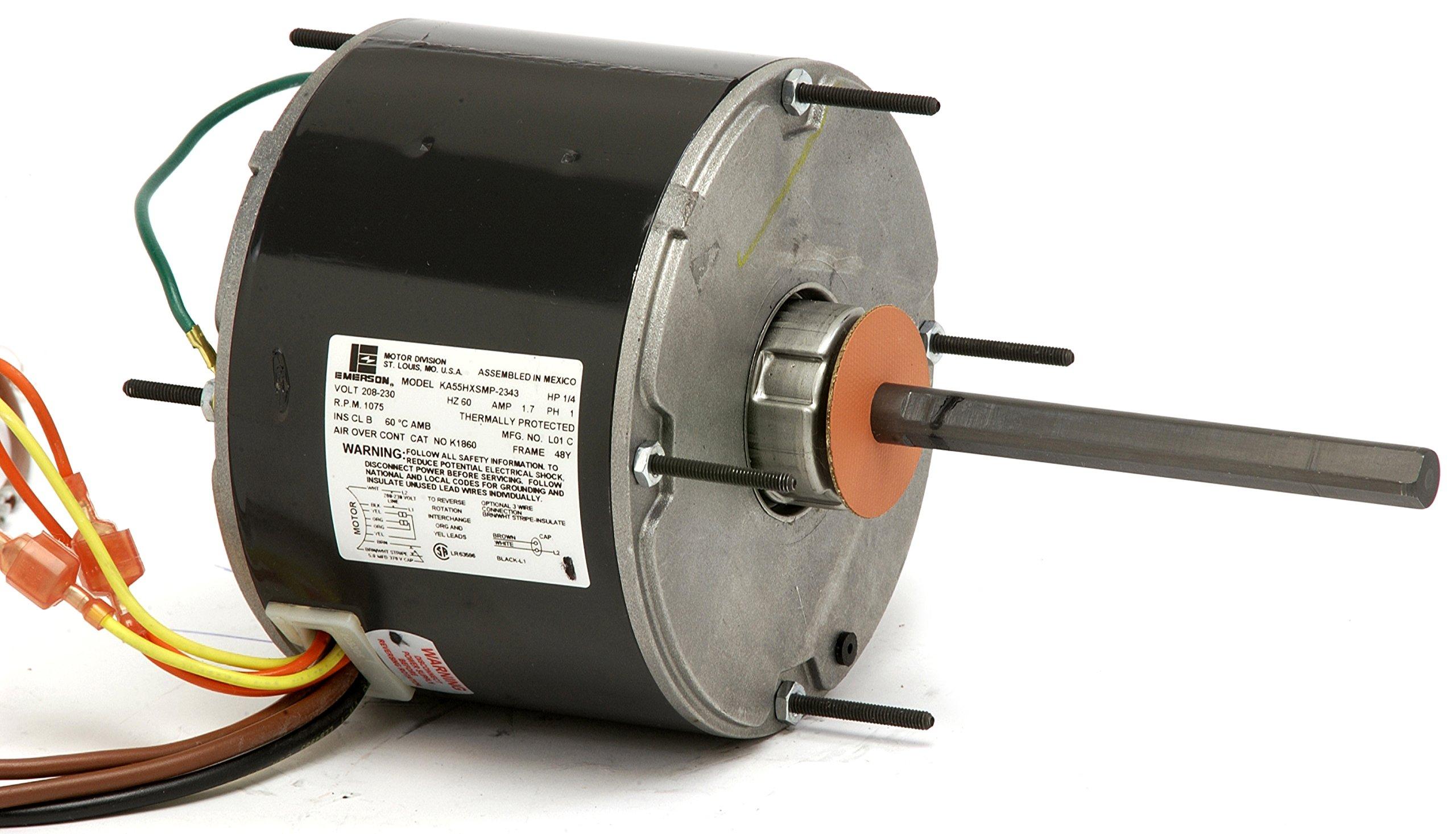 NIDEC MOTOR CORPORATION (Emerson / US Motors) 1873 1/6 HP Condenser Fan, 5.6'' Diameter, 825 RPM, 208-230 Volts