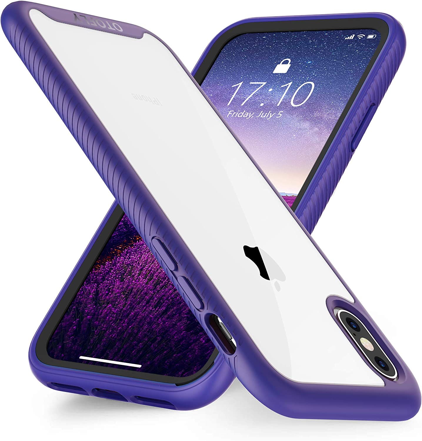 OTOFLY iPhone Xs Max Case,iPhone Xs Max Phone Case,2 in 1 Clear Protective iPhone Case Soft Silicone Bumper Cover Anti-Scratch Shockproof Case Compatible with iPhone Xs Max ONLY, (Purple)