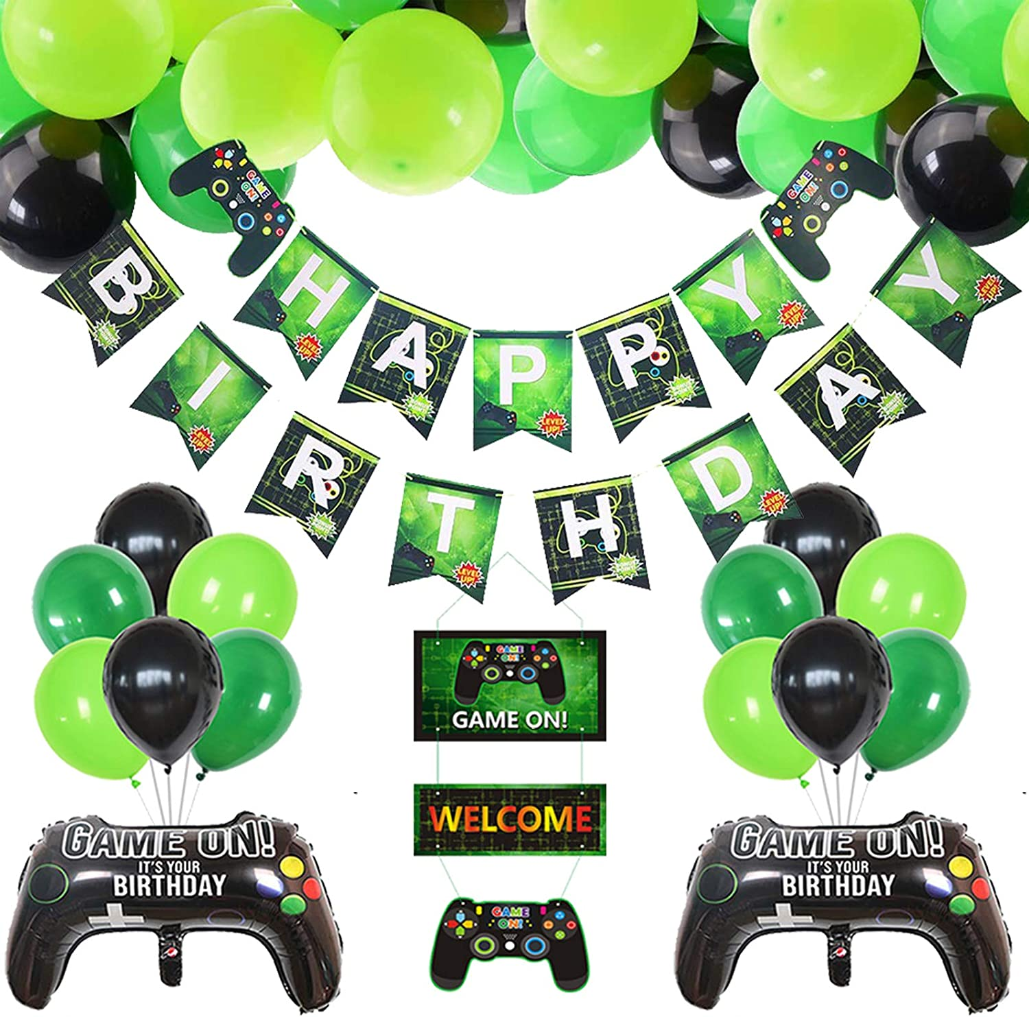CrzPai Video Game Party Decorations Happy Birthday Gaming Banner GAME ON Welcome Hanging Decor, Gamer Party Supplies Cupcake Toppers Set for Gaming Theme Birthday Party