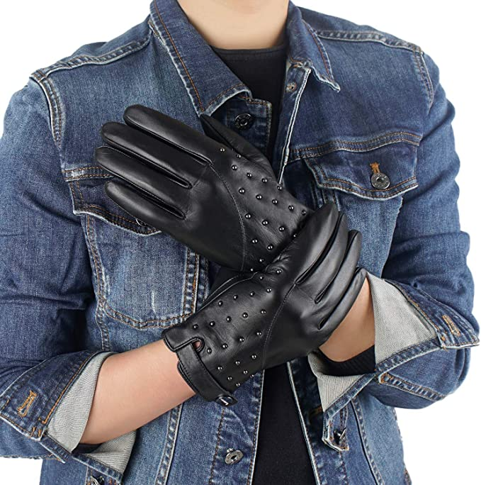 Men/'s Driving Leather Gloves With Leather Covered Button
