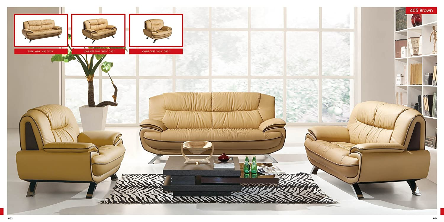 Amazoncom ESF Modern 405 Light Brown Italian Leather Sofa Set
