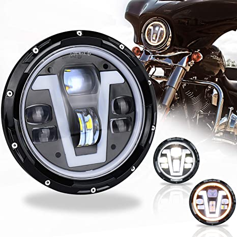 PXPART 7 inch Harley Headlight LED with V Type Halo DRL 50W Hi/Lo Beam on