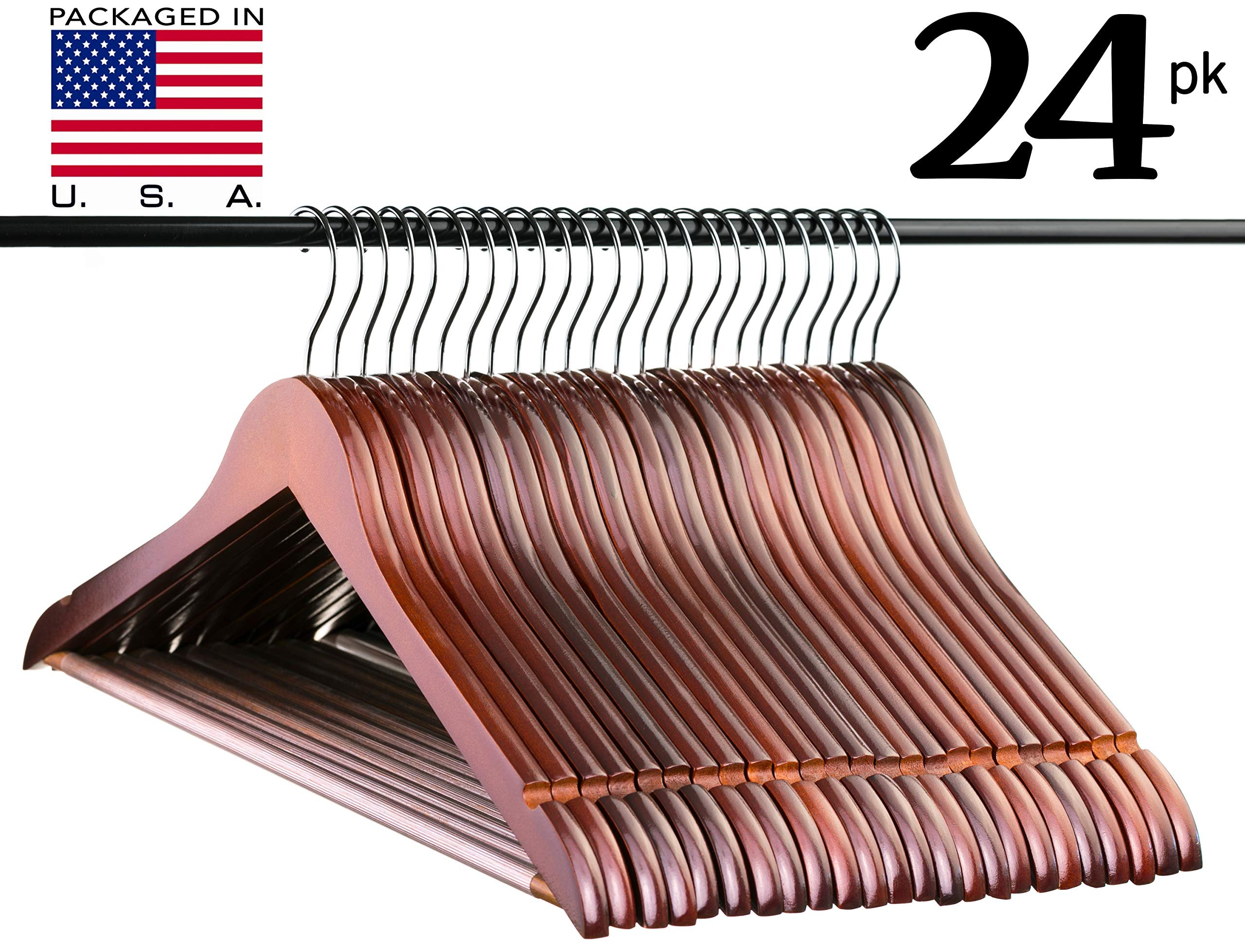 Walnut Solid Everyday Wood Hangers with Non-Slip Bar and Notches, Super Sturdy and Durable Wood, 24 pack