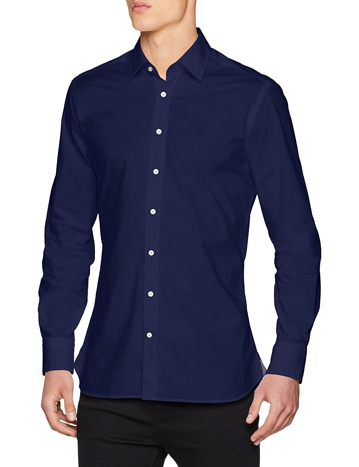 TALLA M. Hackett London Piece Dyed Poplin Camisa para Hombre