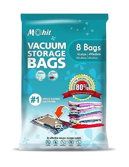Bolsas de almacenamiento al vacío - bolsas de 8 en un paquete (4 grandes (100 x 80 cm) + 4 Medium (80 x 60 cm) Max ahorro de espacio bolsas para ropa