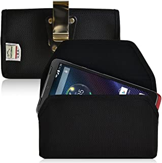 product image for Turtleback Belt Clip Case Made for Motorola Droid Turbo Black Holster Nylon Pouch with Heavy Duty Rotating Belt Clip Horizontal Made in USA