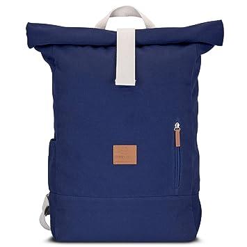 b9b291c6cde68 Johnny Urban Rucksack Damen   Herren Blau Roll Top Daypack aus Baumwoll  Canvas - Lässiger Vintage