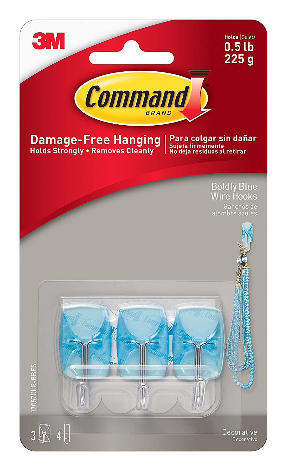 Command 17067CLR-BBES Boldly Blue Small Wire, 3 Hooks, 4 Clear Strips/Pack