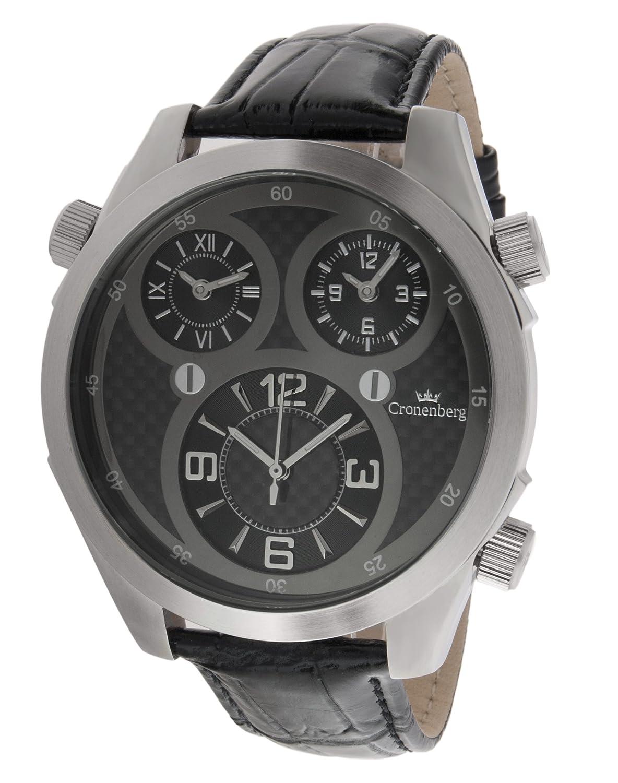 Cronenberg Herren-Armbanduhr Analog Quarz Leder Schwarz - 12072W2-CB