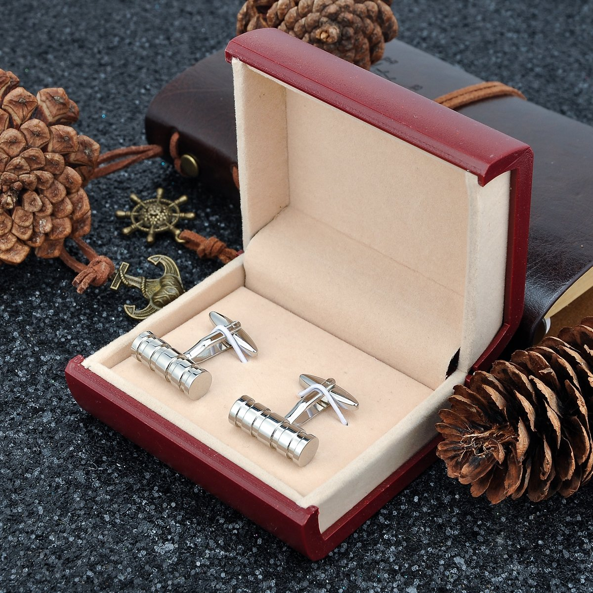 Men's Classic Cufflinks and Studs for Tuxedo Shirts Business Wedding Formal Kit by Qi Xiang