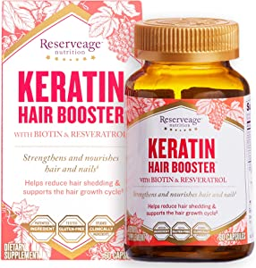 Reserveage, Keratin Hair Booster, Hair and Nails Supplement, Supports Healthy Thickness and Shine with Biotin, Gluten Free, 60 capsules (30 servings)