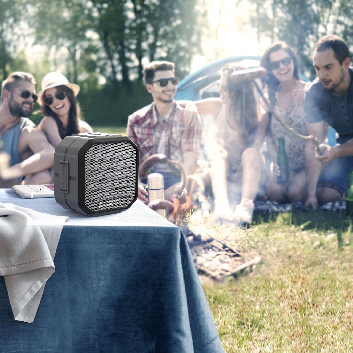 AUKEY Portable Bluetooth Speakers with Enhanced Bass and Built in Mic Outdoor Wireless Speaker Water Resistant for iPhone, iPad, Samsung by AUKEY (Image #4)